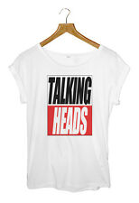 TALKING HEADS WOMENS WHITE ROLL SLEEVE T-SHIRT SIZE S-L