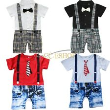 Infant Baby Boy Toddler Kids One Piece Gentleman Bodysuit Romper Outfit Clothes