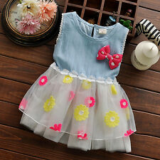 Baby Kids Girls Clothes Denim Tulle Skirt Princess Tutu Flower Dress One-Piece