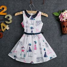 Fashion Baby Kids Girl Little Beauty Image Princess Party Belt Cotton Dress 2-7Y