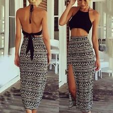 Womens Crop Top and Skirt Clothing Set Sexy Two-piece Clubwear Bodycon Dress New