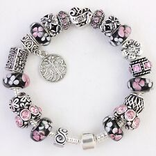 European charm bracelet with charms Mom Family Tree of Life Mothers Day black