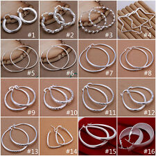 Wholesale Womens Jewellrey 925Sterling Silver Round Hoop Dangle Earrings Fashion