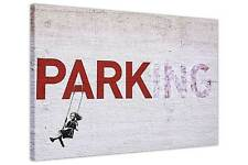 ICONIC PARKING SWING GIRL BANKSY PICTURE ON FRAMED CANVAS PRINTS WALL ART POSTER