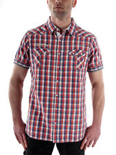 MOD Short-sleeved Shirt MS590 red checkered Poppers Kent collar embroidered