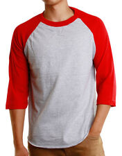 Mens 3/4 Raglan Sleeve Baseball T-Shirt, Athletic Shirts Casual Tees - Gray/Red