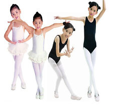 Girls 3-15Y Dancewear Pink Or White Ballet Tap Dance Tights Socks Leddings