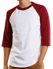 Mens 3/4 Raglan Sleeve Baseball T-Shirt, Athletic Casual Tees - White/Burgundy