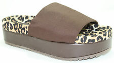 Easy On Platform Slippers Slip On Chic Sandals Brown Lycra Band Women's Shoes
