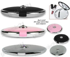 Floxite 10x Lighted Jeweled Compact Travel Mirror w/ Crystals Pink Black Silver
