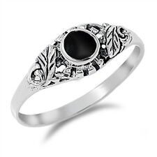 Women's Black Onyx Fashion Leaf Ring New .925 Sterling Silver Band Sizes 4-10