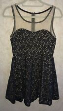 NEW Juniors Sz M L REYNAH COUTURE Black Lace over Nude A-Line Tank Dress
