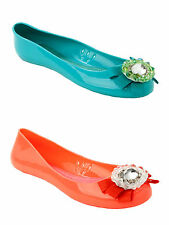 WOMENS DIAMANTE BOW FLAT BEACH SUMMER JELLY SANDALS PUMPS SHOES LADIES SIZE