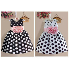 New Princess Baby Kids Girls Party Sleeveless Polka Dot Flower Gown Dress 2-7Y
