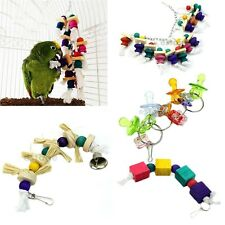 Funny Parrot Bird Swing Chew Toy Rope Harness Hanging Ring Cage Cockatoo Macaw