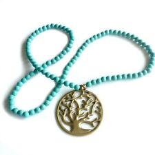Tree of Life pendant | silver or gold on turquoise bead necklace | Holley Day