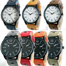 A US Mens Wrist Watches Faux Leather Band Quartz Waterproof Analog Casual NEW