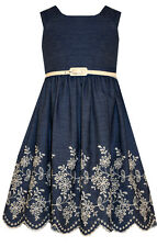 NEW Bonnie Jean Special Occasion Girls Chambray Dress With Embroidered Hem 7-16