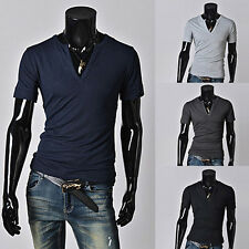 Fashion Men's Clothes T-shirt Casual Slim Fit Solid Short Sleeve T Shirts Summer