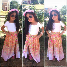 New Baby Kids Girls White T-Shirt+ Skirt Floral Two-piece Outfits Set Dress 2-8Y