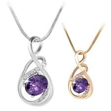Best Sell18K white/yellow Gold filled Exclusive Purple Amethyst necklace pendant
