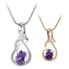 18K white/yellow Gold filled gorgeous Purple Amethyst necklace pendant 18''