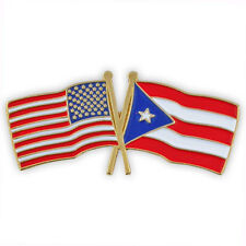 USA and Puerto Rico Crossed Friendship Flag Lapel Pin