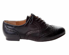 GIRLS BLACK CASUAL OXFORD BROGUE LACE UP SCHOOL FLAT PUMPS SHOES UK SIZE 10-2