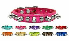 Metallic Chaser Leather Dog Collar * Spiked & Studded Spikes Studs Puppy Pet