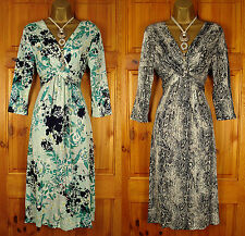 NEW LADIES M&S GREEN BLUE WHITE BLACK VINTAGE STYLE SUMMER JERSEY DRESS UK 8-22