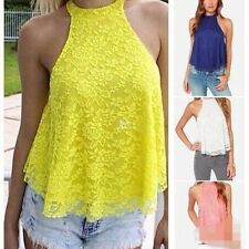 Women's Summer Sexy Casual Sleeveless Lace Halter Vest Shirt Loose Tops Blouse^