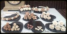 LIGHT MOCHA/IVORY ROSE FLOWER WEDDING HAIR ACCESSORIES*Aliceband*Comb*Pins*Grips