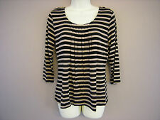 New Ladies M*S Black 3/4 Sleeved Pleat Front Top Size 10 12 14 16 18 20 (LW)