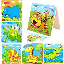 Child Kids Cartoon Animals Pattern Develop Pieces Puzzles Wooden Colorful Jigsaw
