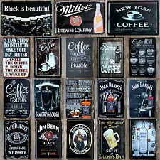 20*30 CM Negro Metal Cartel chapa Cafes Bar Pub Tavern Porche Garaje Placa Pared