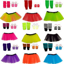 CHILD NEON TUTU SKIRT SET SHORT FISHNET GLOVES LEGWARMERS BEADS 1980S COSTUME