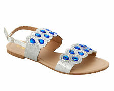 WOMENS SILVER GLITTER DIAMANTE PARTY SUMMER HOLIDAY SANDALS LADIES UK SIZE 3-8