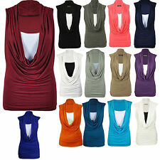 Women Ladies Gathered Cowl Neck Top Vest Sleeveless Deep Neck Top Blouse