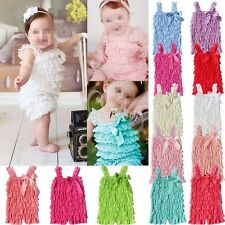 Girls Baby Clothes Lace Spaghetti Ruffle Dress Romper Bodysuit Outfit Set 3-24M