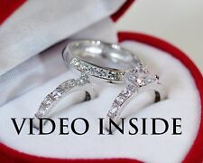 3 Pieces His /Hers Fine Wedding Ring Set Engagement Ring Made in Italy d g