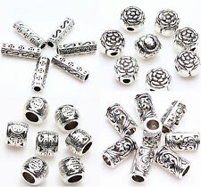50/100pcs Silver Plated Carving Tube Loose Spacer Bead Charms Jewelry Finding
