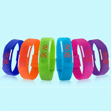 Men Womens Wrist Watch Fashion Silicone Red LED Sport Bracelet Touch Digital