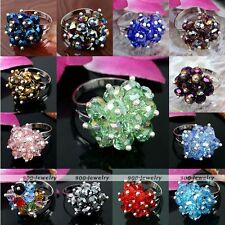 1pc Womens Jewelry Faceted Crystal Glass Beads Flower Finger Ring Adjustable US6