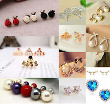 New Women Golden & Silver Plated Crystal Rhinestone  Earring Ear Stud Jewelry