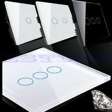 1/2/3 Gang 1 Way Smart Touch Wall Control Light Switch Crystal Glass Panel