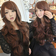 Fashion Womens Wavy Curly Long Wig Brown Hair Costume Daily Party Synthetic Wig