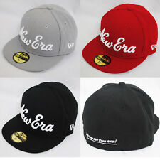 NEW ERA 59fifty new YORK SCRIPT FITTED FLAT PEAK BLACK RED GREY BASEBALL HAT CAP