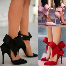 NEW Women Ladies Pointy Toe Gladiator High Heel Pumps Stilettos Ankle Bow Shoes
