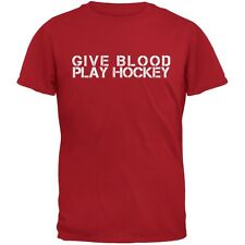 Give Blood Play Hockey Red Adult T-Shirt