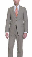 Tommy Hilfiger Trim Fit Solid Khaki Tan Two Button Worsted Wool Suit